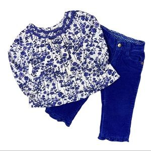 Blue and white floral outfit set